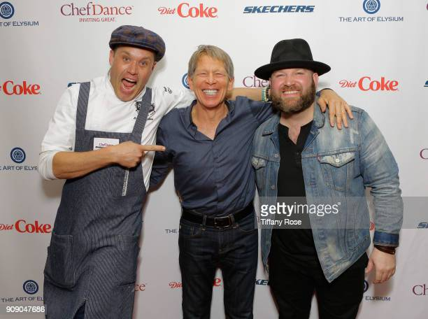 Top Chef Brian Malarkey, founder of ChefDance Kenny Grisold and recording artist Ryan Innes attend ChefDance on January 22, 2018 in Park City, Utah.
