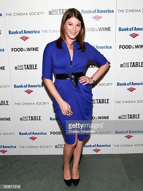 Top Chef host Gail Simmons arrives at Bank of America and Food Wine with The Cinema Society present a screening of 'A Place at the Table' at the...
