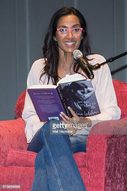 'Top Chef' host Padma Lakshmi reads from her book 'Love Loss and What We Ate' at Town Hall Seattle on March 14 2016 in Seattle Washington