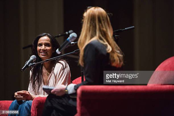 'Top Chef' host Padma Lakshmi speaks with Theo Chocolate cofounder and CMO Debra Music at Town Hall Seattle at Town Hall Seattle on March 14 2016 in...