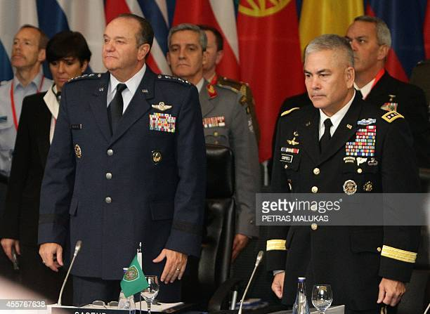 NATO top commander General Philip Breedlove and General John F Campbell Commander of the International Security Assistance Force attend a meeting of...