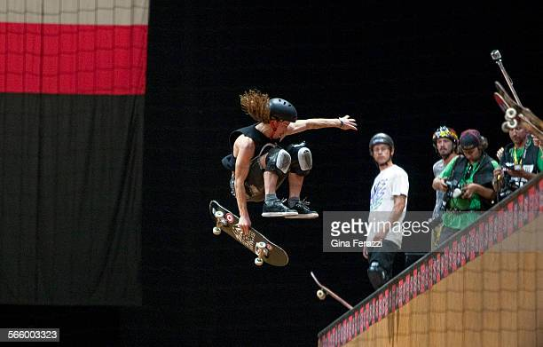 Top contender Shaun White wows the crowd during warms–up for Skateboard Vert Elimination inside the Nokia Theatre at LA Live during the X Games in...