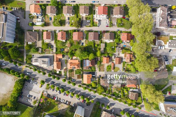 top down view of a residential district with many single family homes in fribourg, switzerland - haus stock-fotos und bilder