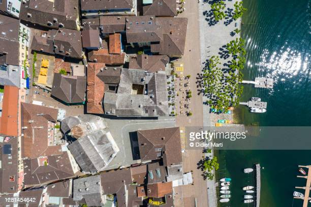 top down view of ascona old town by lake maggiore in canton ticino in switzerland - ascona stock pictures, royalty-free photos & images