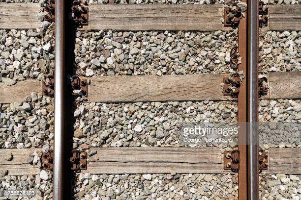 top down view of railroad tracks - rail transportation stock pictures, royalty-free photos & images
