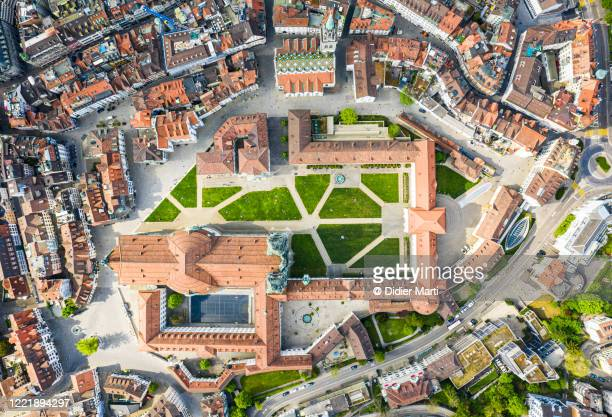 top down view of st gallen old town in eastern switzerland - abbey monastery stock pictures, royalty-free photos & images