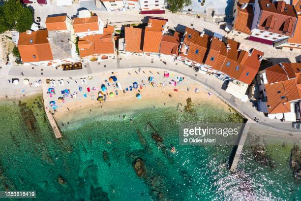 """top down view of the beach in the baska village in the krk island in croatia. """"n - croatia stock pictures, royalty-free photos & images"""