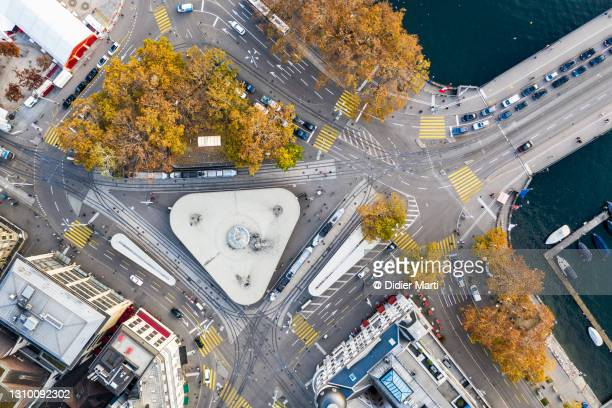 top down view of the bellevue place in zurich old town in switzerland - bellevue skyline stock pictures, royalty-free photos & images
