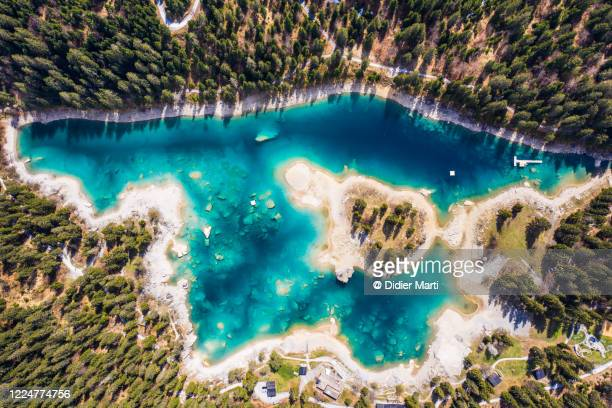 top down view of the lake cauma near flims in canton graubünden in switzerland - national landmark stock pictures, royalty-free photos & images