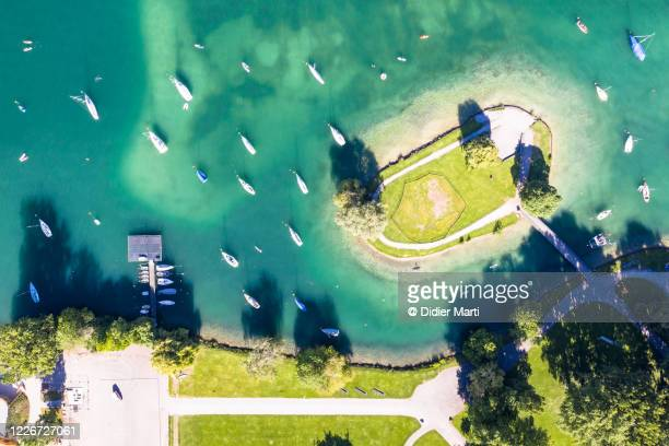 top down view of the manmade saffa island in lake zurich in zurich, switzerland largest city - switzerland stock pictures, royalty-free photos & images