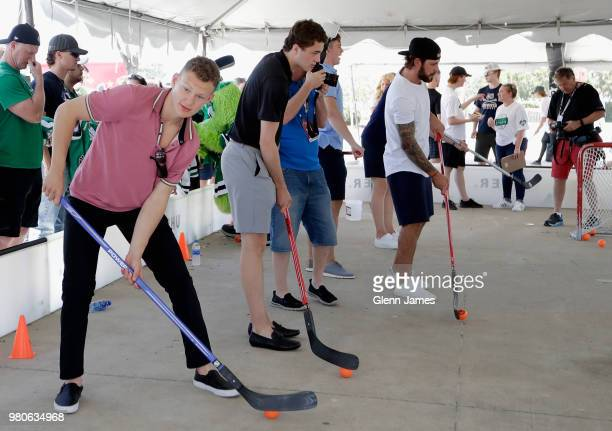 Top draft prospect Brady Tkachuk participates in the Community Ball Hockey Clinic with children from Big Brothers Big Sisters of Greater Dallas at...