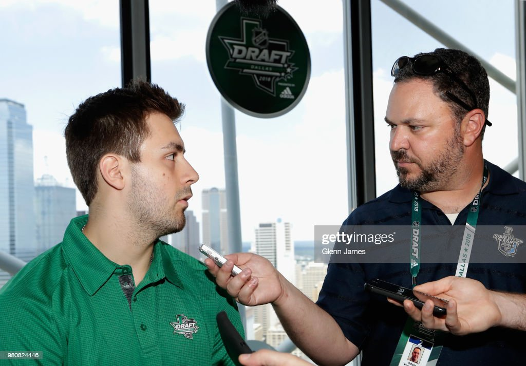 Top draft prospect Evan Bouchard attends the Top Prospects Media Availability as part of the 2018 NHL Entry Draft at the Reunion Tower on June 21, 2018 in Dallas, Texas.