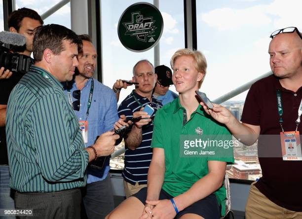 Top draft prospect Rasmus Dahlin attends the Top Prospects Media Availability as part of the 2018 NHL Entry Draft at the Reunion Tower on June 21...