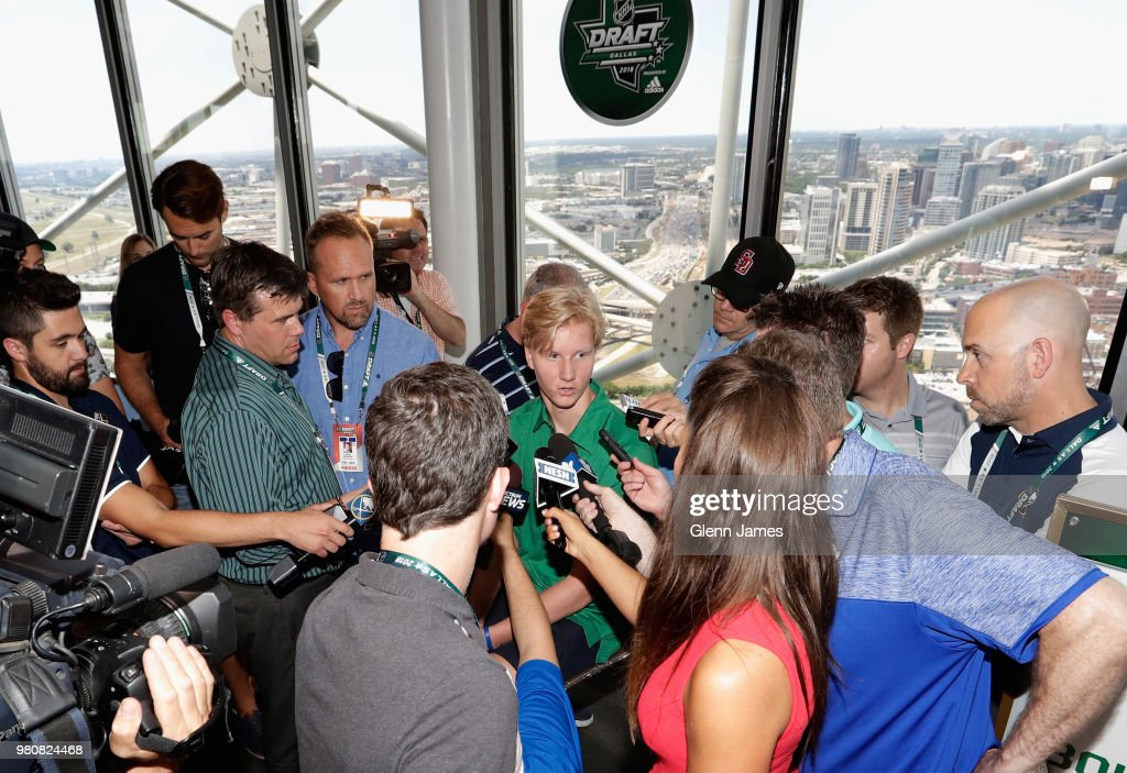 Top draft prospect Rasmus Dahlin attends the Top Prospects Media Availability as part of the 2018 NHL Entry Draft at the Reunion Tower on June 21, 2018 in Dallas, Texas.