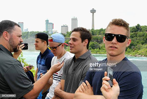 NHL top draft prospects Jesse Puljujarvi Patrik Laine Auston Matthews and Matthew Tkachuk are interviewed after riding the Maid of the Mist on June...