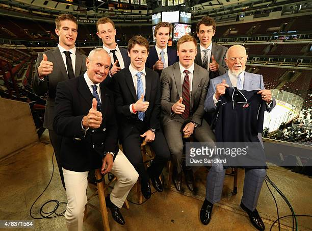 NHL top draft prospects Noah Hanafin Jack Eichel Connor McDavid Dylan Strome broadcaster Ron MacLean Mitchell Marner Lawson Crouse and broadcaster...