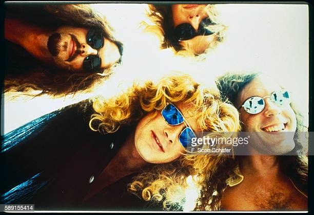 Drummer Nick Menza and bassist David Ellefson Bottom Vocalist/guitarist Dave Mustaine and guitarist Marty Friedman of Megadeth is photographed in...