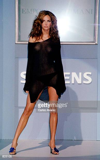 Top fashion model Eugenia Silva wears an outfit from the Emporio Armani Spring/Summer 2001 during the GQ fashion party May 7 2001 in Madrid Spain