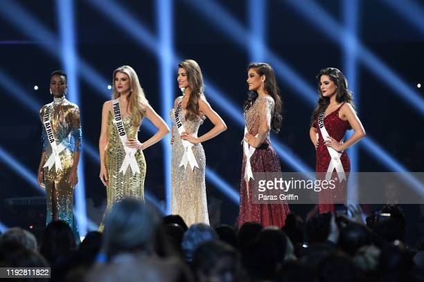 Top five contestants Miss South Africa Zozibini Tunzi Miss Puerto Rico Madison Anderson Miss Colombia Gabriela Tafur Nader Miss Thailand Paweensuda...