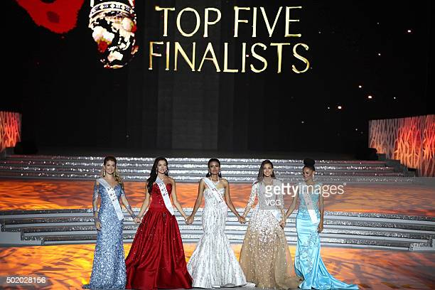 Top five finalists perform onstage during the Miss World Grand Final on December 19 2015 in Sanya Hainan Province of China