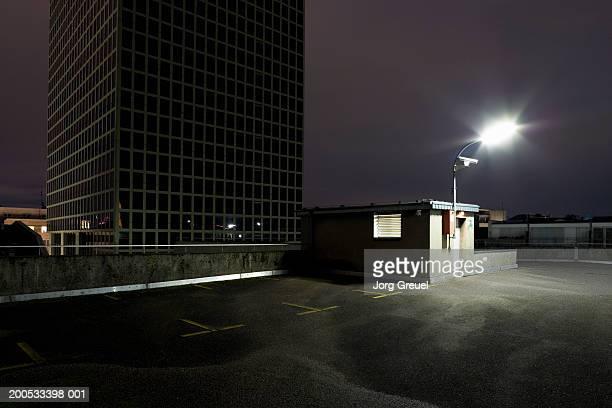 Top floor of multi storey car park at night