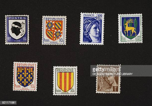 Top from left postage stamp from the Coats of arms and Provinces of Corsica series postage stamp from the Coats of arms and Provinces of Burgundy...