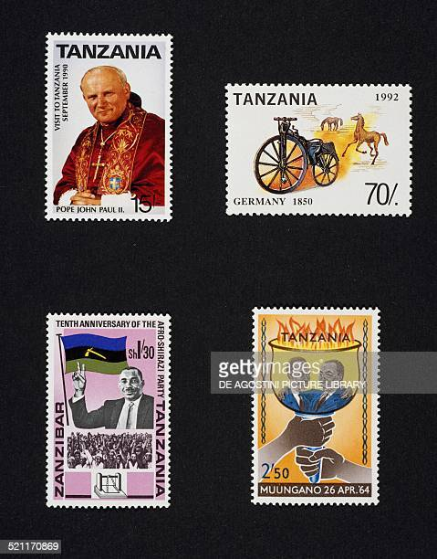 Top from left postage stamp from the series commemorating Pope John Paul II's visit in Tanzania 1990 postage stamp from series History of the bicycle...