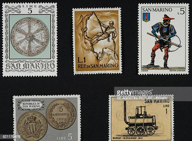 Top from left postage stamp from the series honouring the Armor of Local Collections depicting a 16th century shield postage stamp from the series...