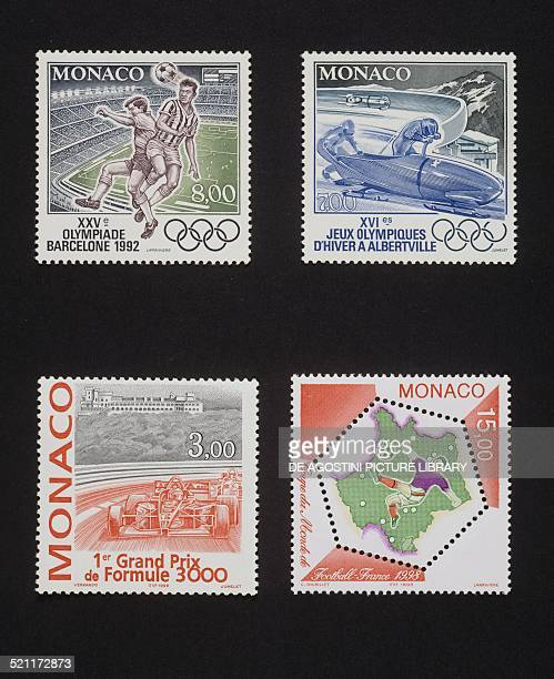 Top from left postage stamp from the series honouring the Olympic Games in Barcelona depicting the game of football postage stamp from the series...