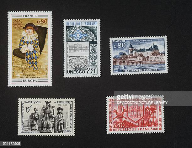 Top from left postage stamp honouring Pablo Picasso depicting Paul dressed as Harlequin 1975 postage stamp honouring the Old Square in Havana in 1985...