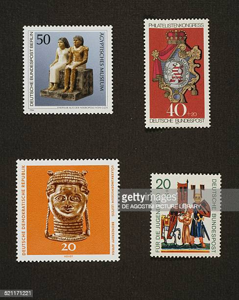 top from left postage stamp honouring the Egyptian Museum in Berlin with statuette of seated married couple from the necropolis of Giza 1984 postage...