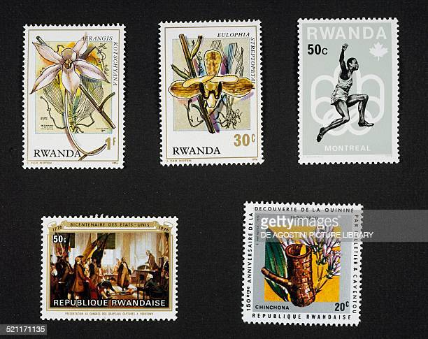 Top from left postage stamps from the series honouring Orchids depicting Aerangis kotschyana and Eulophia streptopetala postage stamp commemorating...