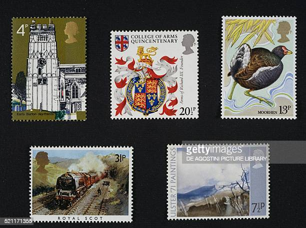 Top from left postage stamps from the Village churches series depicting the Tower of All Saints' Church Earls Barton 1972 postage stamp commemorating...