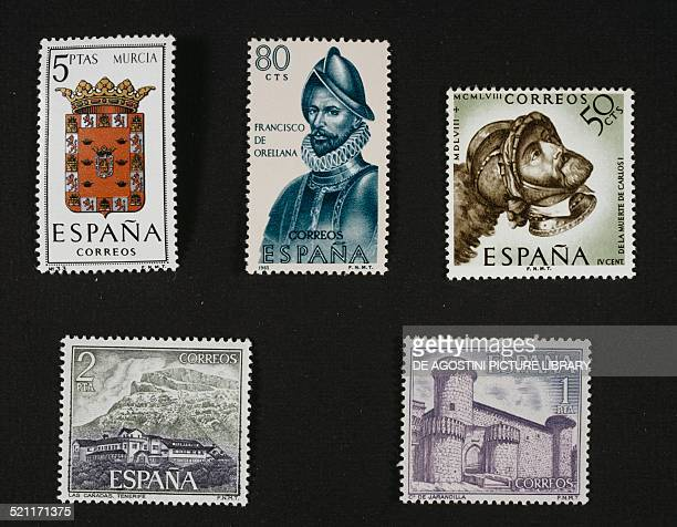 Top from left postgae stamp depicting the Murcia coat of arms postage stamp honouring Francisco de Orellana 1965 postage stamp commemorating the 4th...
