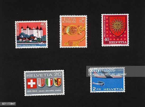 Top from left two stamps from the Pro Patria series depicting the city of Grandson canton of Vaud and the Auberge de l'Onde St Saphorin 1982 postage...