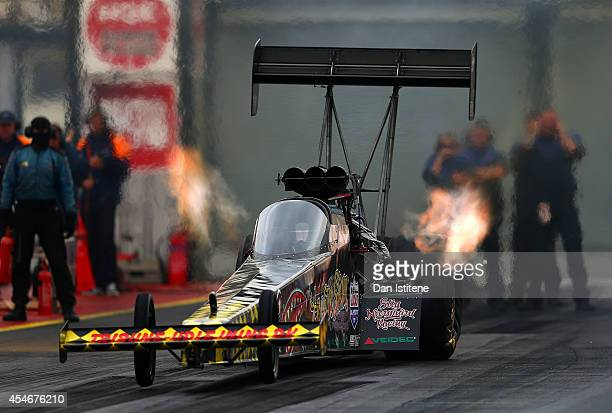 Top Fuel Car launches during qualifying for the European Drag Racing Championships at Santa Pod Raceway on September 5 2014 in Podington England