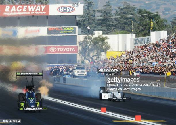 Top Fuel driver Brittany Force defeats Antron Brown during the quarterfinal round of eliminations in Pomona on Sunday, November 11, 2018 at the 54th...