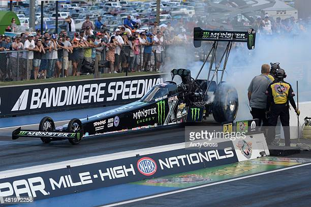 Top Fuel driver Brittany Force during her burnout on the second day of qualifying for the Mopar Parts Mile High Nationals at Bandimere Speedway July...