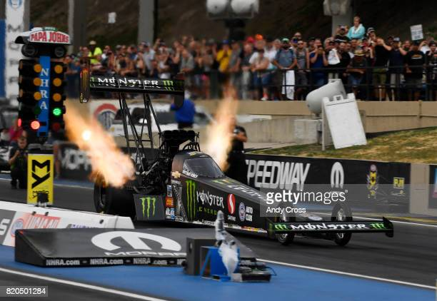 Top Fuel driver Brittany Force takes off during first round of qualifying for the 38th annual Mopar Mile High NHRA Nationals at Bandimere Speedway...