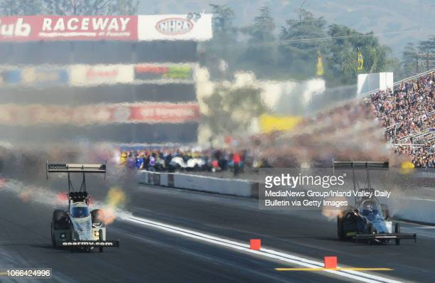 Top Fuel driver Tony Schumacher defeats Scott Palmer during the opening round of eliminations in Pomona on Sunday November 11 2018 at the 54th annual...