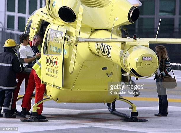 Top Gear presenter Richard Hammond is transferred from Leeds General Infirmary by the Yorkshire Air Ambulance as his wife Mindy watches to an unknown...