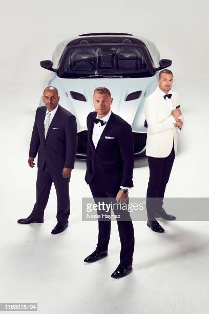 Top Gear presenters Chris Harris, Andrew Flintoff and Paddy McGuinness are photographed for the Daily Mail on May 20, 2019 in London, England.