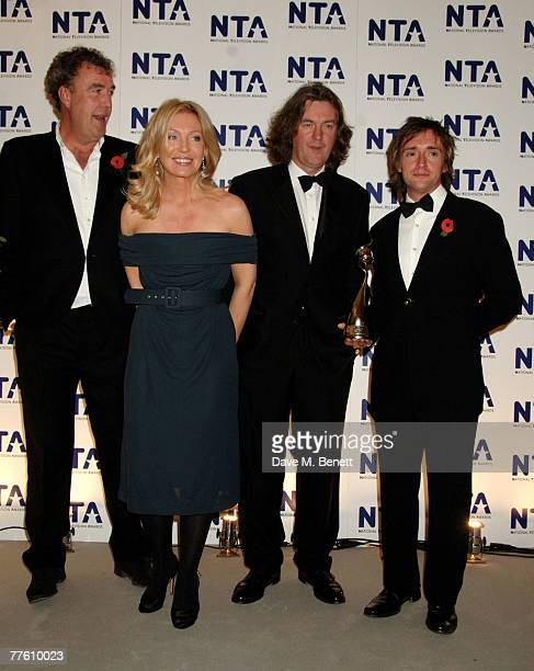 'Top Gear' presenters Jeremy Clarkson Richard Hammond and James May pose with the award for Most Popular Factual Programme in the Awards Room...