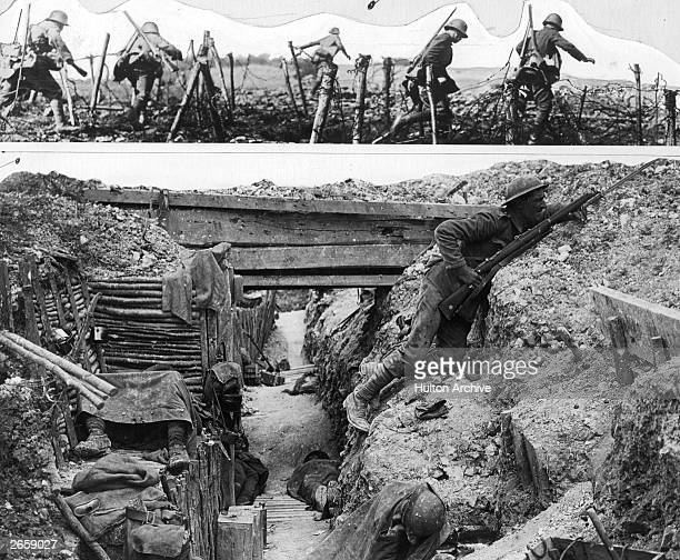 German troops advance. Bottom: A British trench on the Western Front.
