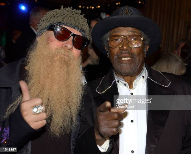 Top guitarist Billy Gibbons and Icon Award recipient Bo Diddley attend the 50th Annual BMI Pop Awards May 14 2002 in Beverly Hills CA