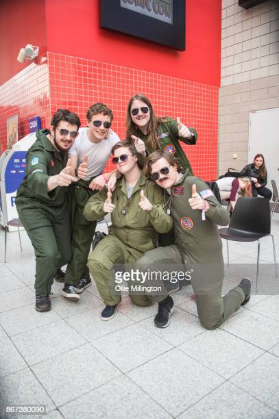 Top Gun cosplayers during MCM London Comic Con 2017 held at the ExCel on October 28 2017 in London England
