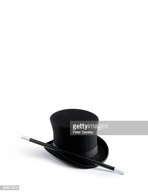 Top hat and wand with copy space