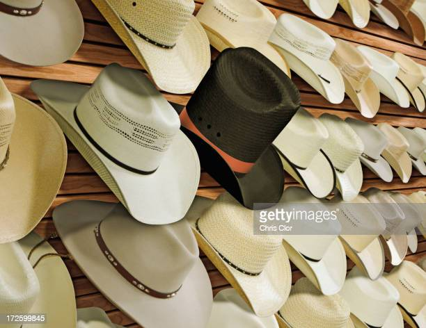 Top hat for sale among cowboy hats