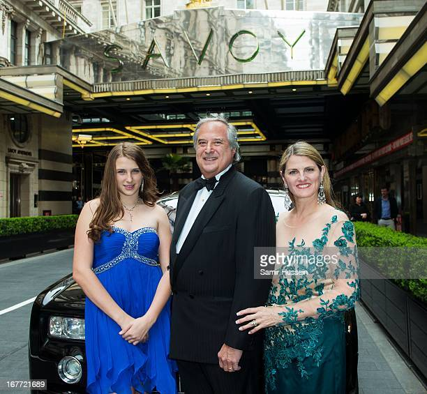 Top Hat producers Bonnie Comley and Stewart F Lane with daughter Leah Lane attend a Top Hat Pre Show Party at The Savoy Hotel ahead of the Olivier...