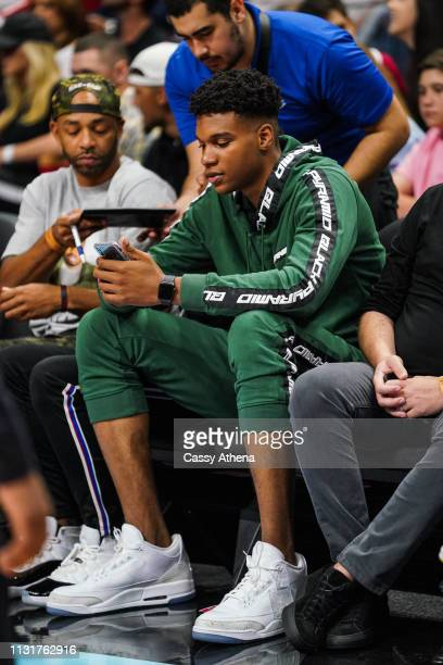 Top high school prospect Isaiah Todd sits court side at the Detroit Pistons vs Miami Heat game at American Airlines Arena on February 23 2019 in...